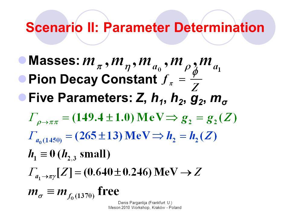 Denis Parganlija (Frankfurt U.) Meson 2010 Workshop, Kraków - Poland Scenario II: Parameter Determination Masses: Pion Decay Constant Five Parameters: Z, h 1, h 2, g 2, m σ