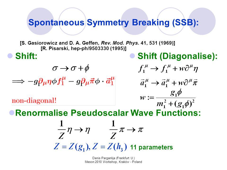 Denis Parganlija (Frankfurt U.) Meson 2010 Workshop, Kraków - Poland Spontaneous Symmetry Breaking (SSB): Shift: Shift (Diagonalise): Renormalise Pseudoscalar Wave Functions: [R.