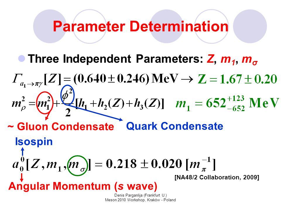 Denis Parganlija (Frankfurt U.) Meson 2010 Workshop, Kraków - Poland Parameter Determination Three Independent Parameters: Z, m 1, m σ Isospin Angular Momentum (s wave) [NA48/2 Collaboration, 2009] ~ Gluon Condensate Quark Condensate
