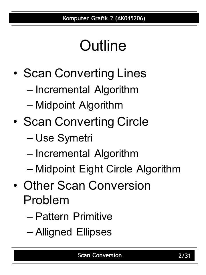 Komputer Grafik 2 (AK045206) Scan Conversion 2/31 Outline Scan Converting Lines –Incremental Algorithm –Midpoint Algorithm Scan Converting Circle –Use Symetri –Incremental Algorithm –Midpoint Eight Circle Algorithm Other Scan Conversion Problem –Pattern Primitive –Alligned Ellipses