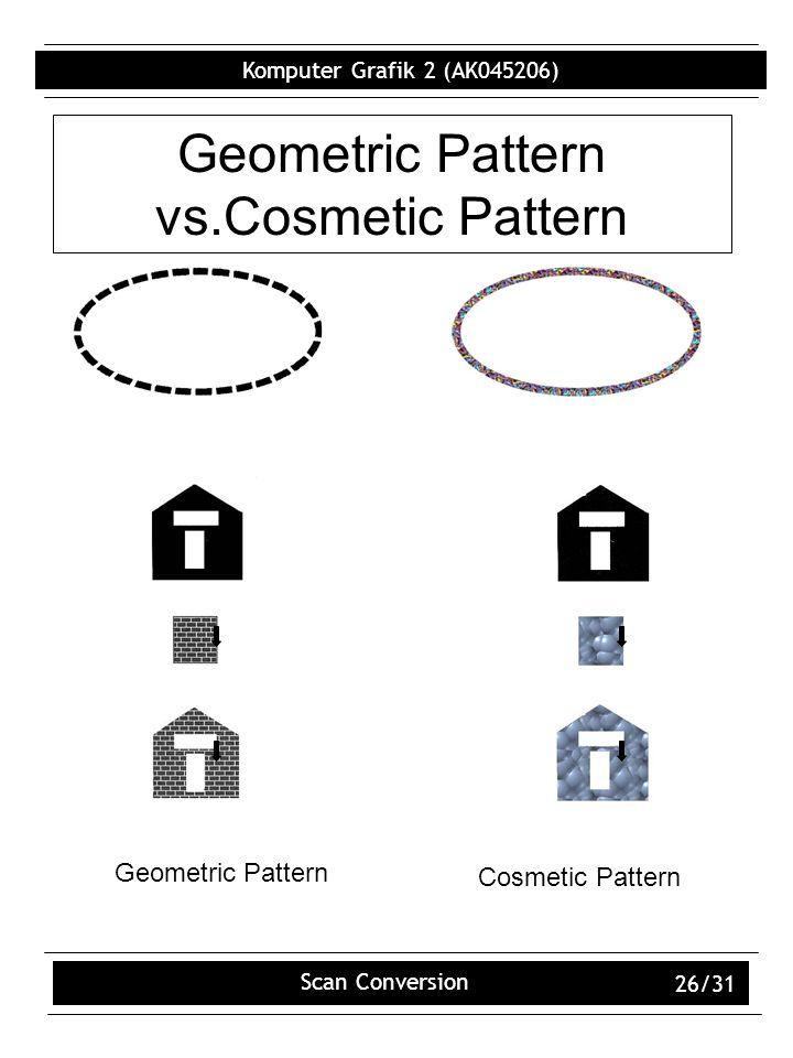 Komputer Grafik 2 (AK045206) Scan Conversion 26/31 Geometric Pattern vs.Cosmetic Pattern Geometric Pattern Cosmetic Pattern