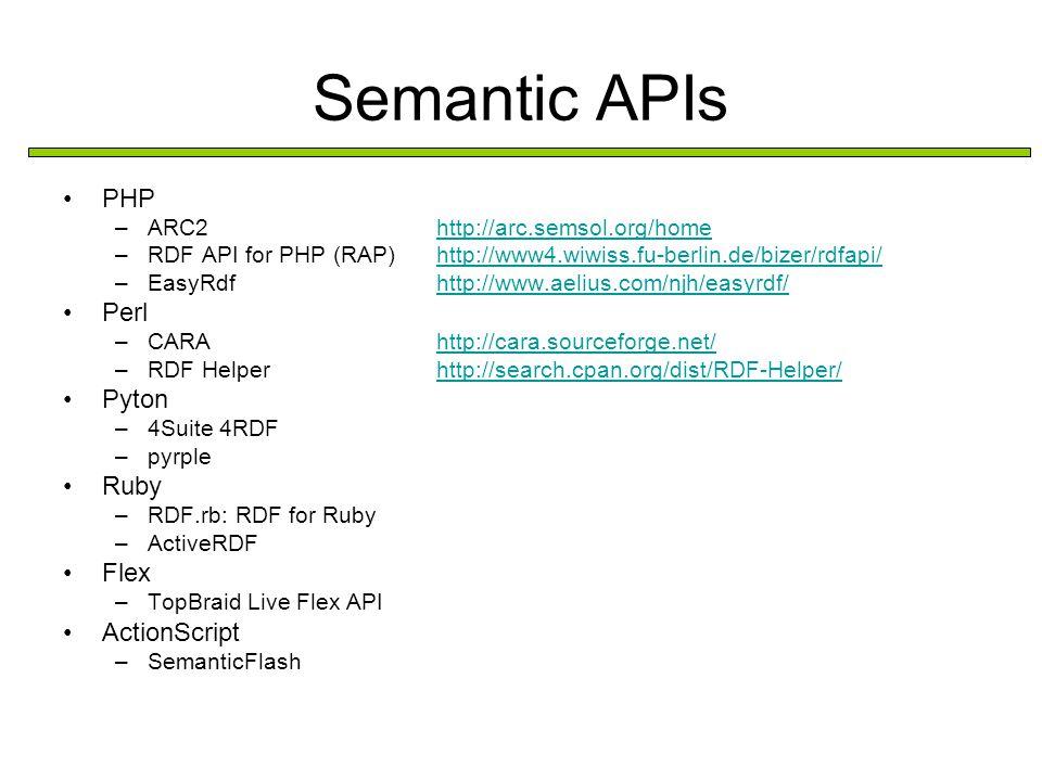 Semantic APIs PHP –ARC2 –RDF API for PHP (RAP) –EasyRdf Perl –CARA –RDF Helper Pyton –4Suite 4RDF –pyrple Ruby –RDF.rb: RDF for Ruby –ActiveRDF Flex –TopBraid Live Flex API ActionScript –SemanticFlash PHP http://arc.semsol.org/home http://www4.wiwiss.fu-berlin.de/bizer/rdfapi/ http://www.aelius.com/njh/easyrdf/ Perl http://cara.sourceforge.net/ http://search.cpan.org/dist/RDF-Helper/ Pyton 4Suite 4RDF pyrple Ruby RDF.rb: RDF for Ruby ActiveRDF Flex TopBraid Live Flex API ActionScript SemanticFlash