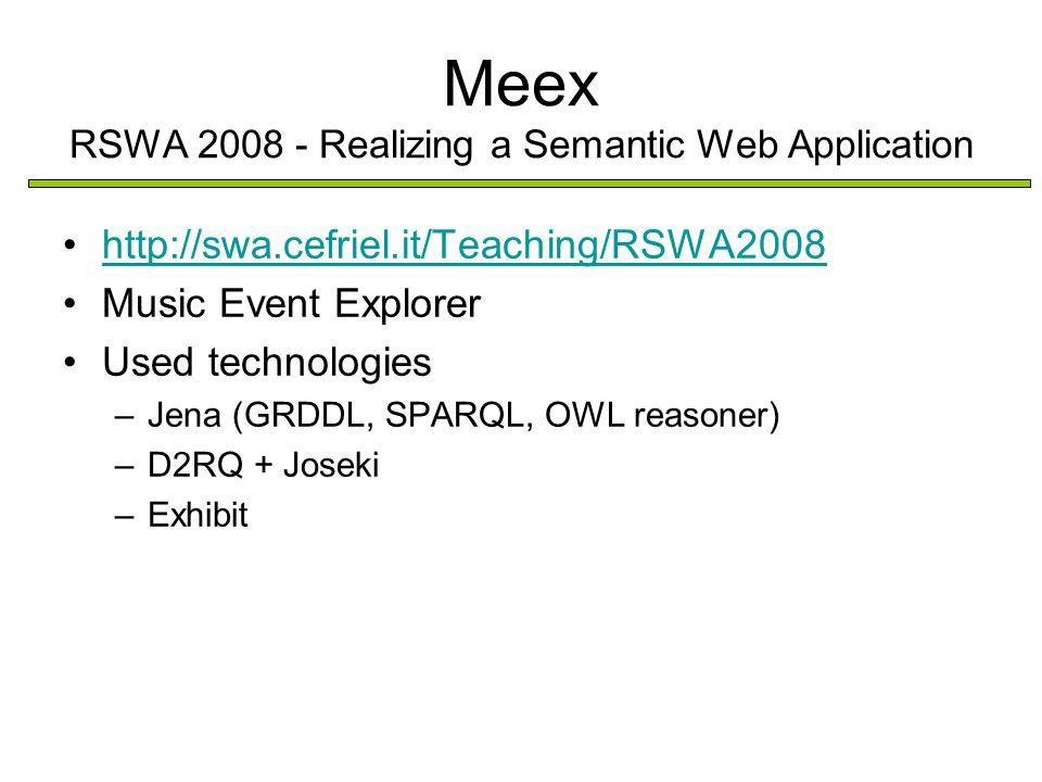 Meex RSWA 2008 - Realizing a Semantic Web Application http://swa.cefriel.it/Teaching/RSWA2008 Music Event Explorer Used technologies –Jena (GRDDL, SPARQL, OWL reasoner) –D2RQ + Joseki –Exhibit