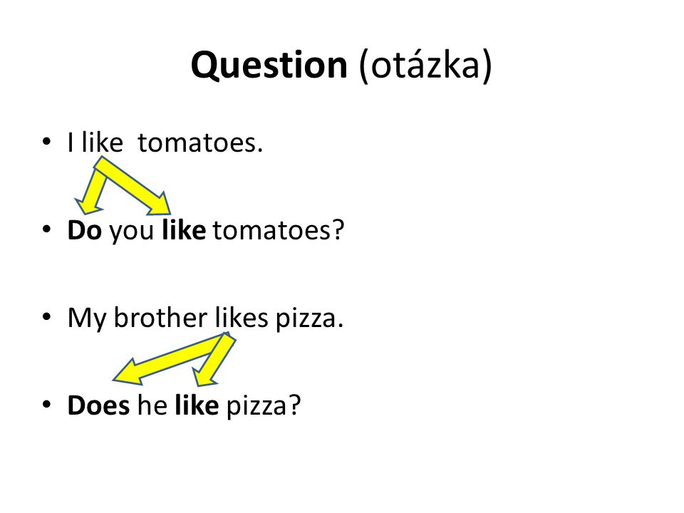 Question (otázka) I like tomatoes. Do you like tomatoes? My brother likes pizza. Does he like pizza?