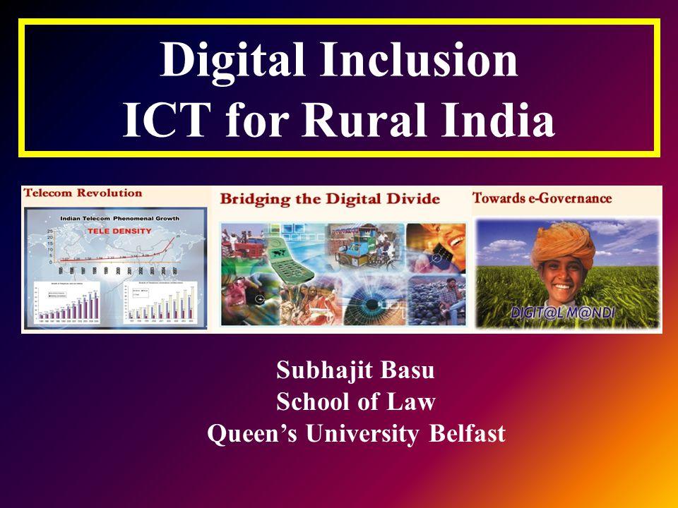 India Population --1,080,264,388 (around 70% lives in rural area) Area -- 3,287,590 sq km (more than 600,000+ villages) Political subdivisions-- 28 states,7 union territories Literacy--55.2 % Per-capita income-- 0.4 $ per day