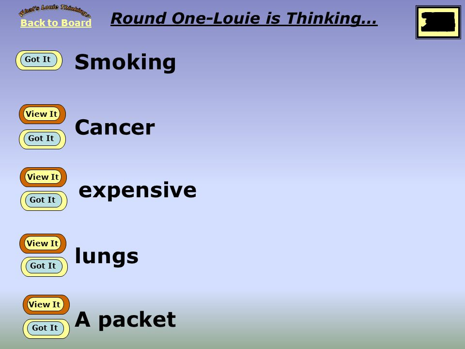 Back to Board START Round One Louie is thinking about… Dependency