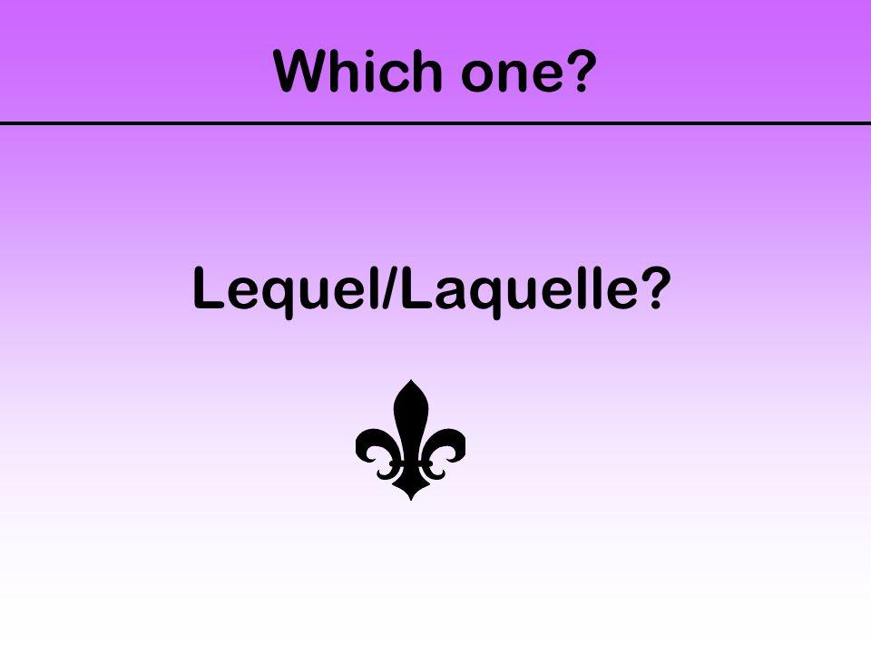 Which one Lequel/Laquelle