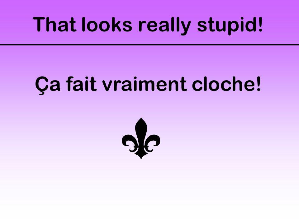That looks really stupid! Ça fait vraiment cloche!