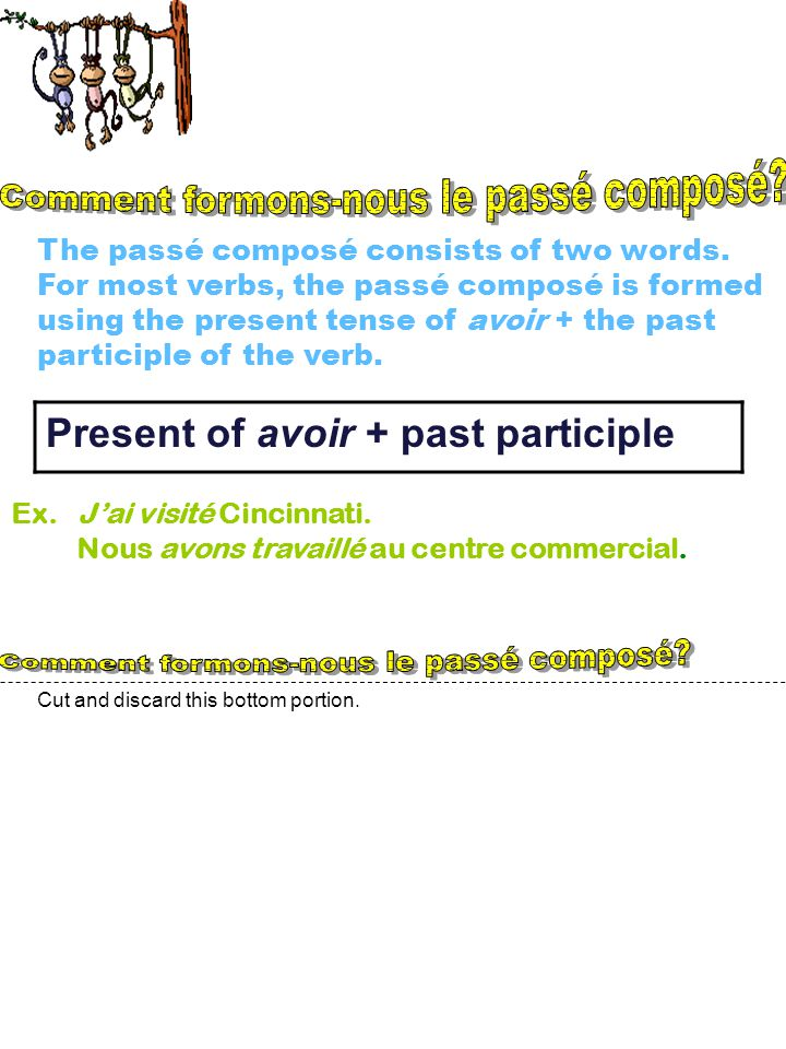 Cut and discard this bottom portion.The passé composé consists of two words.