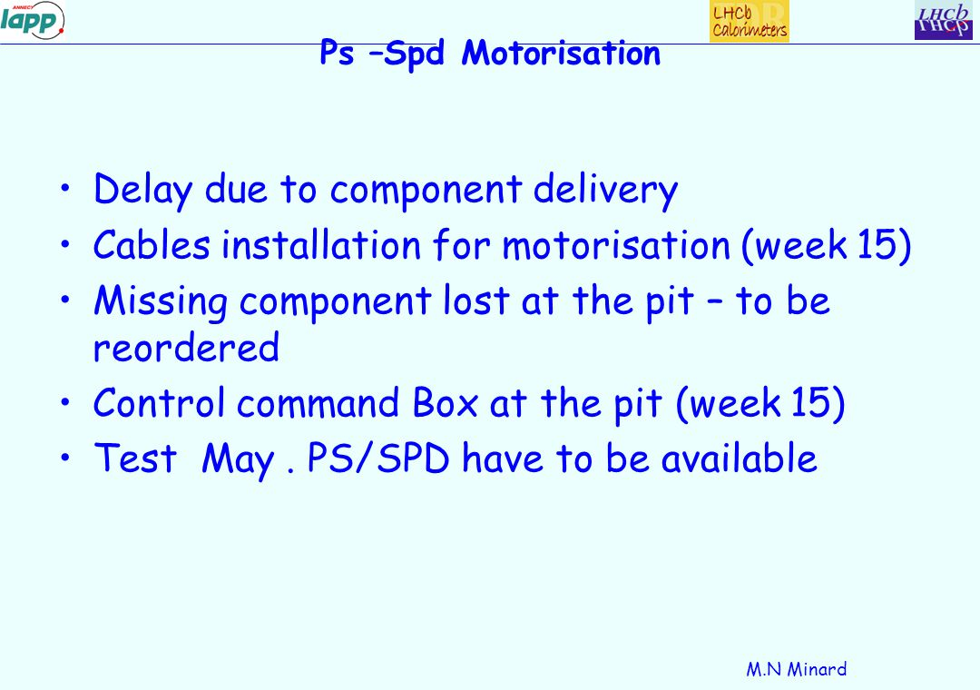 M.N Minard Ps –Spd Motorisation Delay due to component delivery Cables installation for motorisation (week 15) Missing component lost at the pit – to be reordered Control command Box at the pit (week 15) Test May.