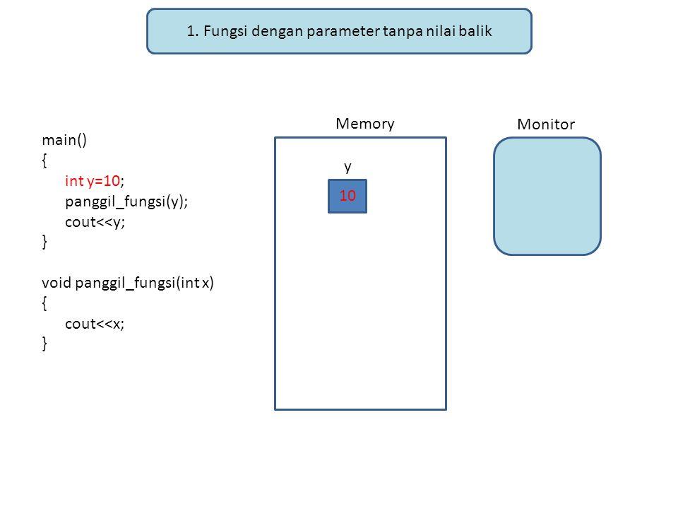 1. Fungsi dengan parameter tanpa nilai balik main() { int y=10; panggil_fungsi(y); cout<<y; } void panggil_fungsi(int x) { cout<<x; } Memory Monitor 1