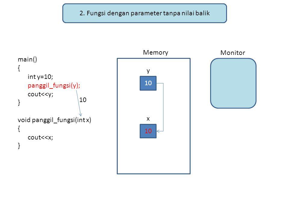2. Fungsi dengan parameter tanpa nilai balik main() { int y=10; panggil_fungsi(y); cout<<y; } void panggil_fungsi(int x) { cout<<x; } Memory Monitor 1