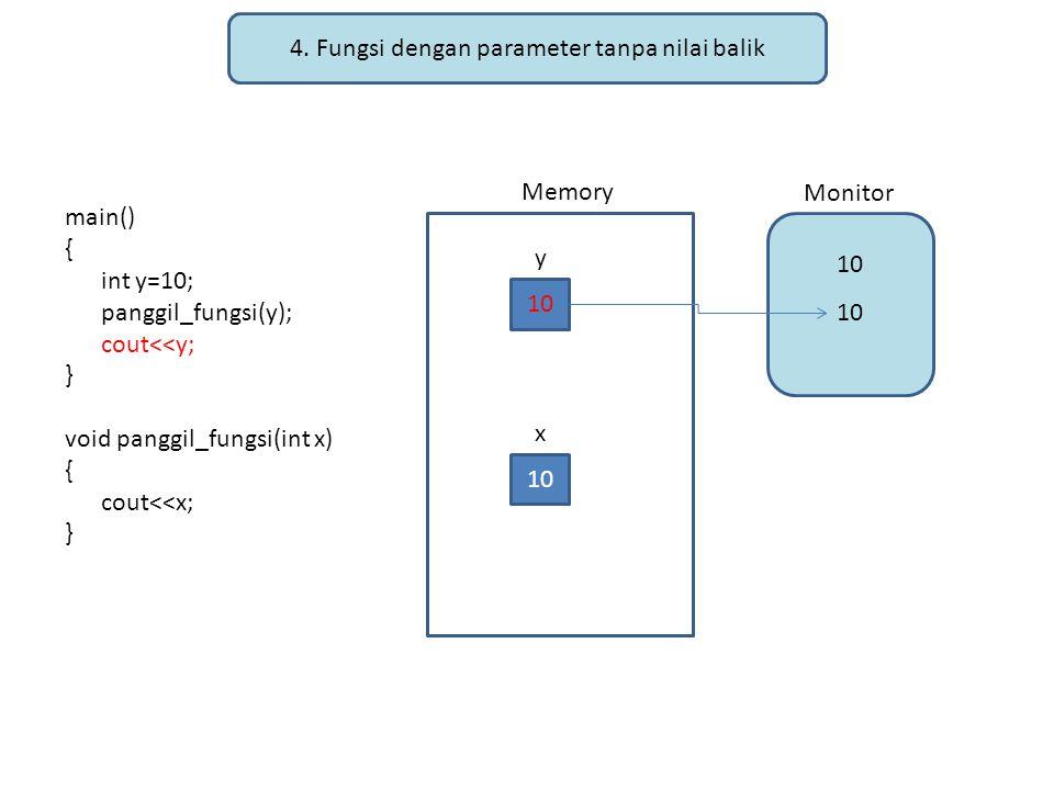 4. Fungsi dengan parameter tanpa nilai balik main() { int y=10; panggil_fungsi(y); cout<<y; } void panggil_fungsi(int x) { cout<<x; } Memory Monitor 1