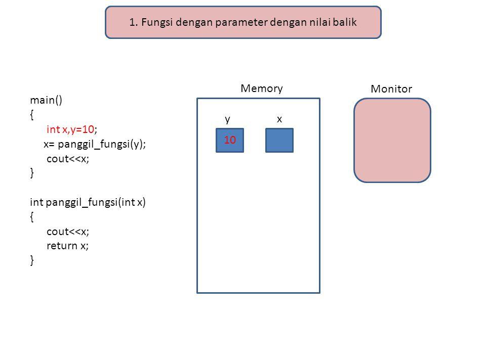 1. Fungsi dengan parameter dengan nilai balik main() { int x,y=10; x= panggil_fungsi(y); cout<<x; } int panggil_fungsi(int x) { cout<<x; return x; } M