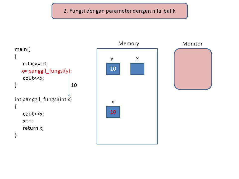 2. Fungsi dengan parameter dengan nilai balik main() { int x,y=10; x= panggil_fungsi(y); cout<<x; } int panggil_fungsi(int x) { cout<<x; x++; return x