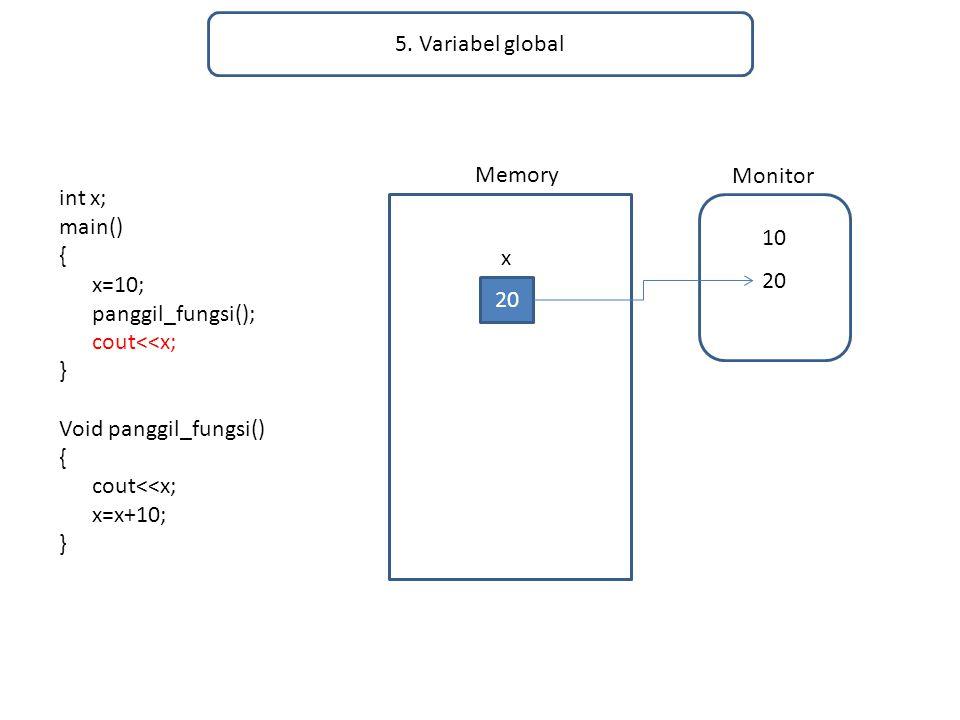 5. Variabel global int x; main() { x=10; panggil_fungsi(); cout<<x; } Void panggil_fungsi() { cout<<x; x=x+10; } Memory Monitor 20 x 10 20