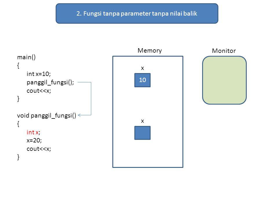 2. Fungsi tanpa parameter tanpa nilai balik main() { int x=10; panggil_fungsi(); cout<<x; } void panggil_fungsi() { int x; x=20; cout<<x; } Memory Mon