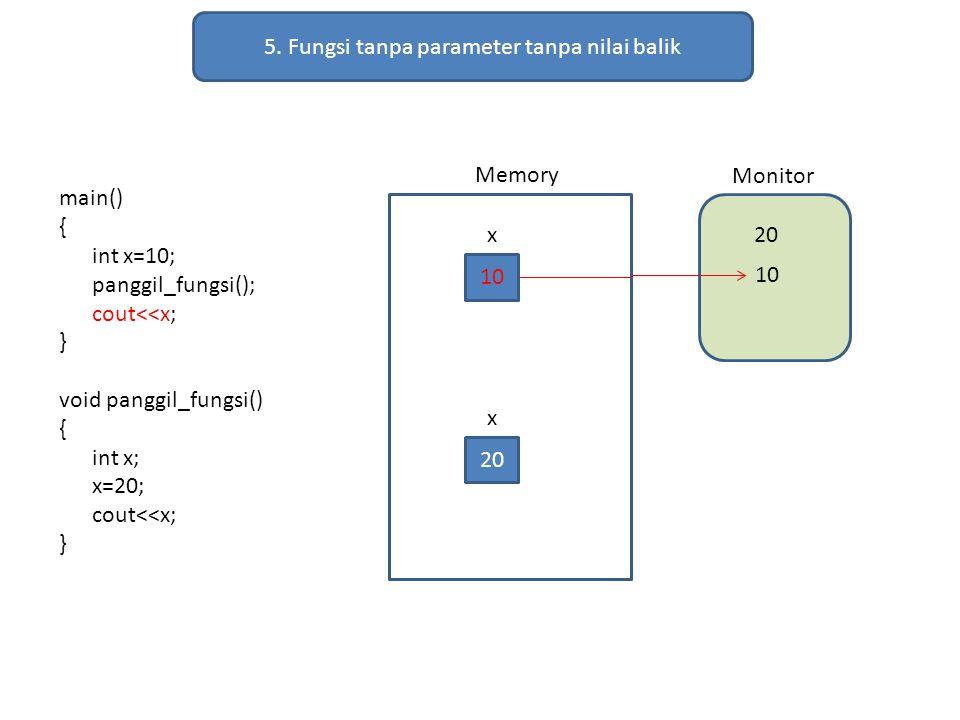 5. Fungsi tanpa parameter tanpa nilai balik main() { int x=10; panggil_fungsi(); cout<<x; } void panggil_fungsi() { int x; x=20; cout<<x; } Memory Mon
