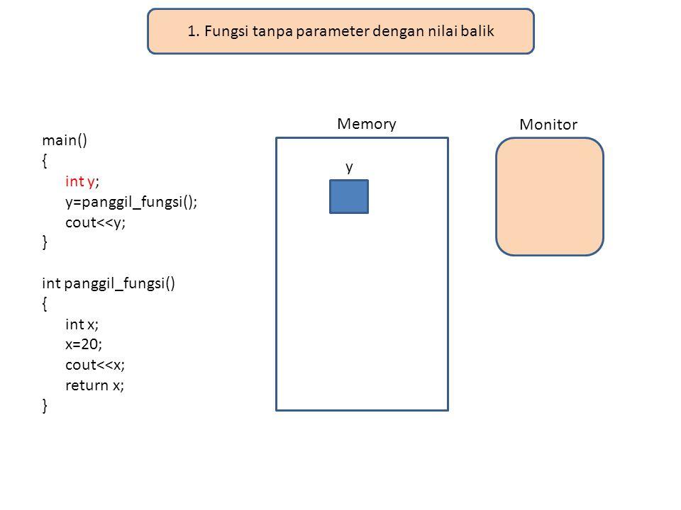 1. Fungsi tanpa parameter dengan nilai balik main() { int y; y=panggil_fungsi(); cout<<y; } int panggil_fungsi() { int x; x=20; cout<<x; return x; } M