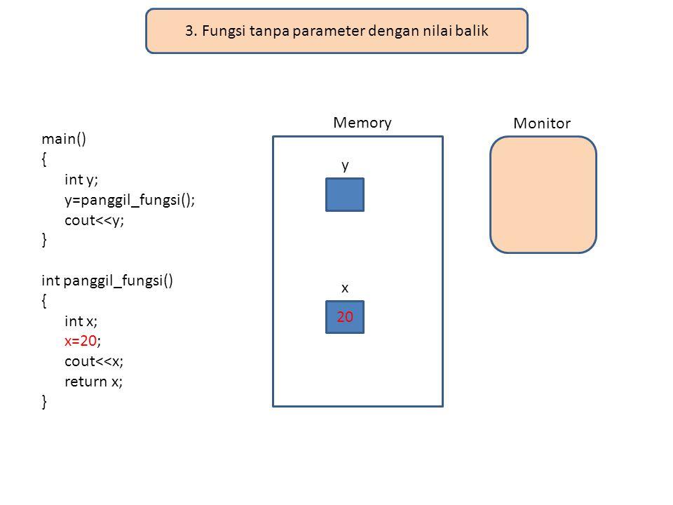 3. Fungsi tanpa parameter dengan nilai balik main() { int y; y=panggil_fungsi(); cout<<y; } int panggil_fungsi() { int x; x=20; cout<<x; return x; } M