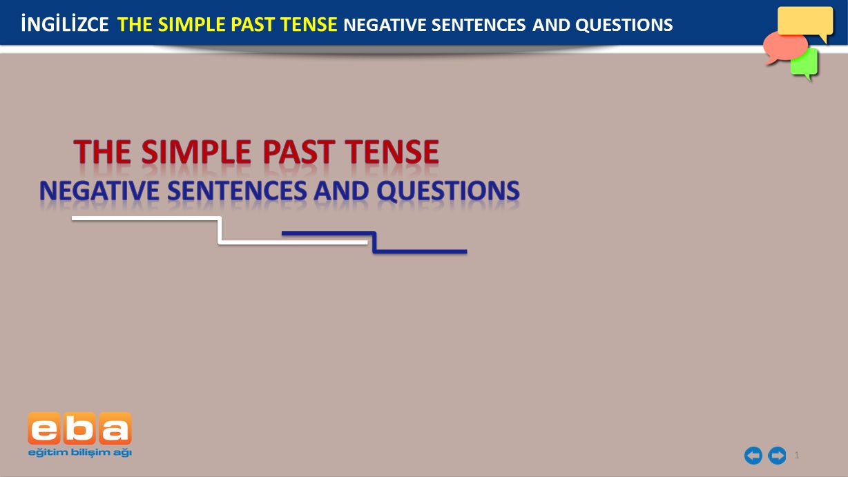 1 İNGİLİZCE THE SIMPLE PAST TENSE NEGATIVE SENTENCES AND QUESTIONS