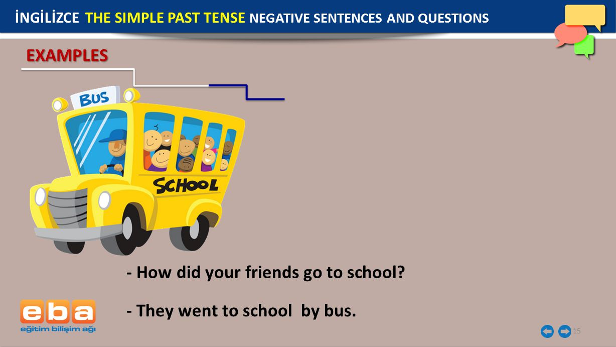 15 - How did your friends go to school.- They went to school by bus.