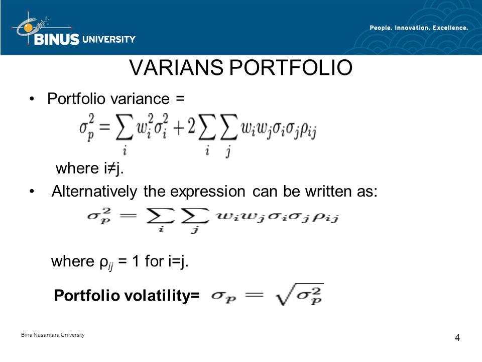 VARIANS PORTFOLIO Portfolio variance = where i≠j.