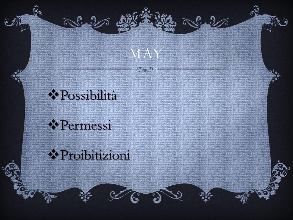 MAY & MIGHT Sono utilizzati per esprimere permessi e probabilità di cui might è più remota. Sogg+may/might+R.F May/might+sogg+R:F?