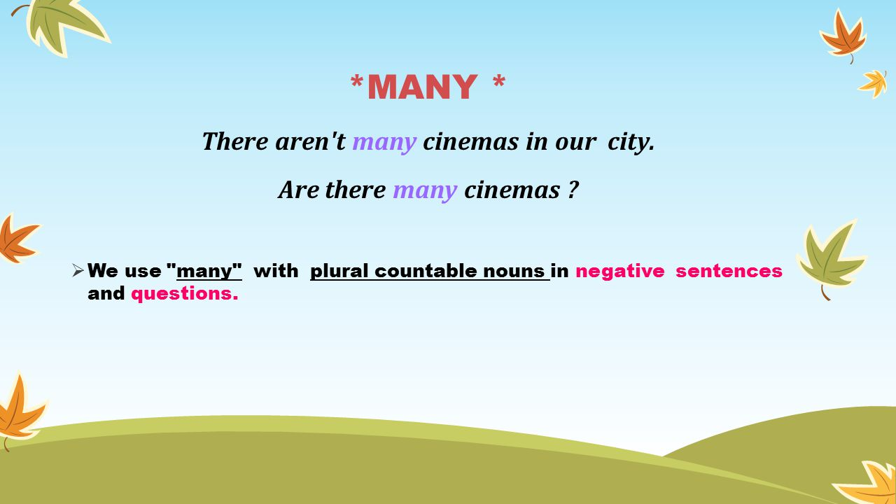 *MANY * There aren t many cinemas in our city. Are there many cinemas .