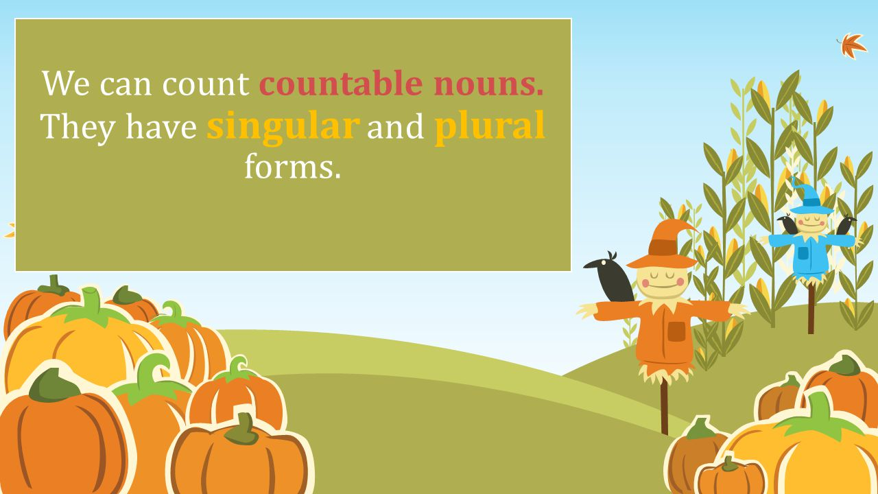 We can count countable nouns. They have singular and plural forms.