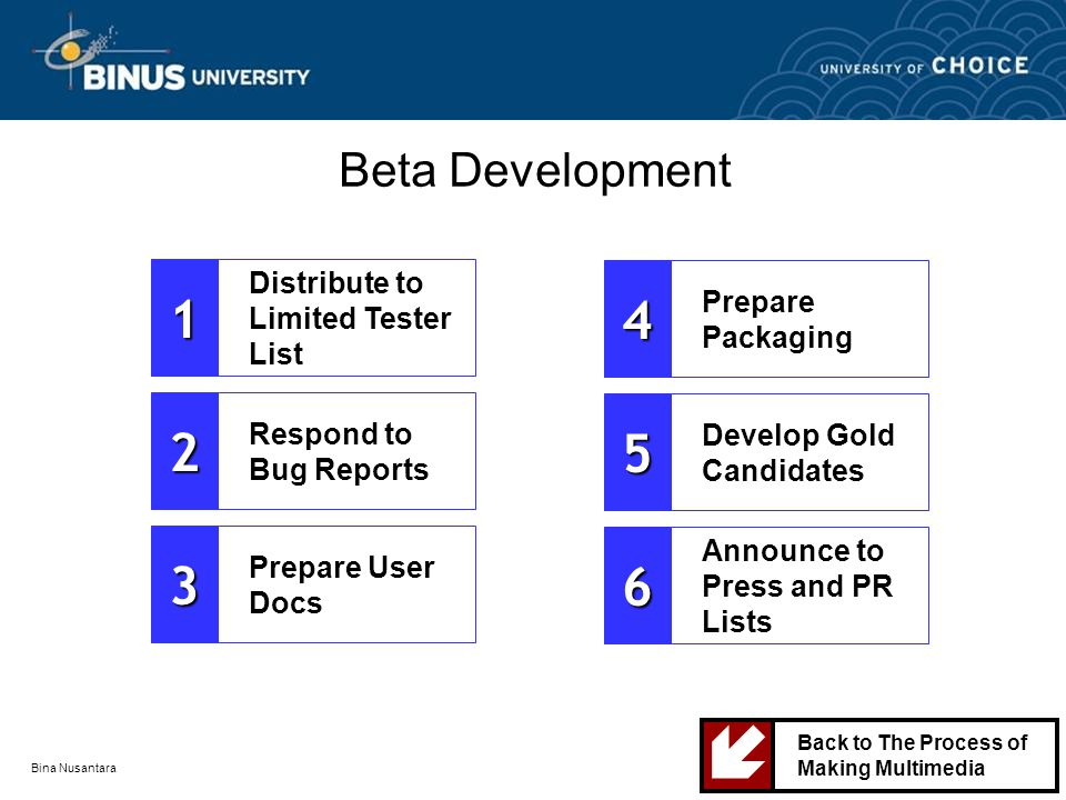 Bina Nusantara Beta Development Distribute to Limited Tester List1 Respond to Bug Reports2 Prepare User Docs3 Prepare Packaging4 Develop Gold Candidates5 Announce to Press and PR Lists6 Back to The Process of Making Multimedia 