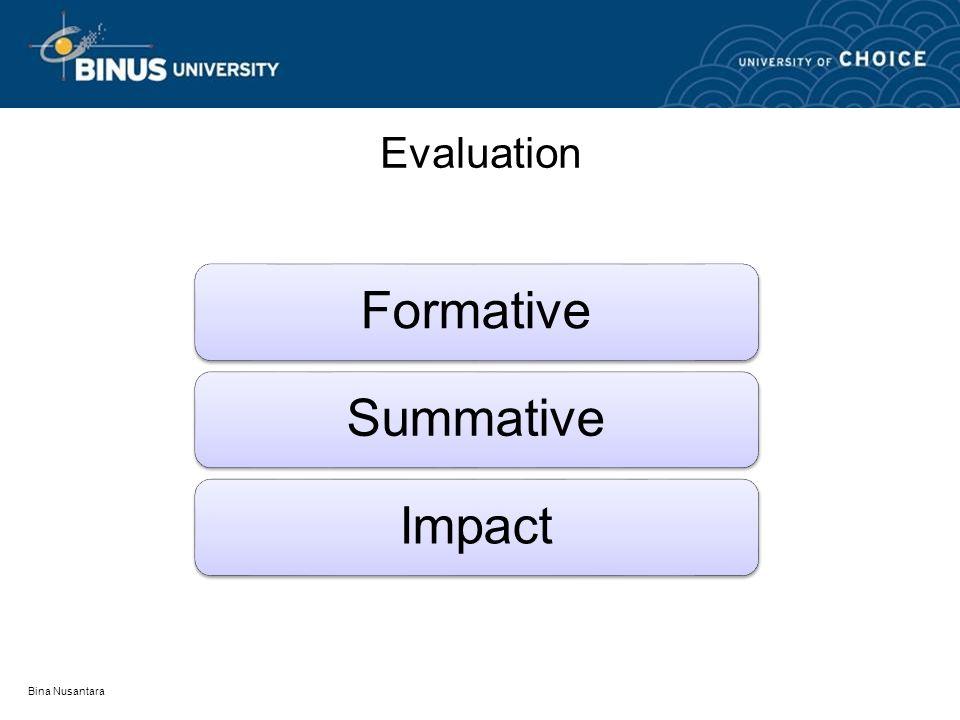 Bina Nusantara Evaluation FormativeSummativeImpact