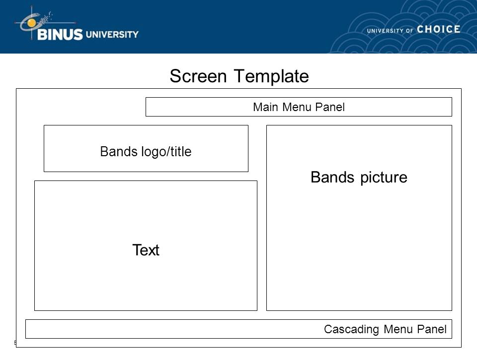 Bina Nusantara Screen Template Main Menu Panel Cascading Menu Panel Bands picture Text Bands logo/title