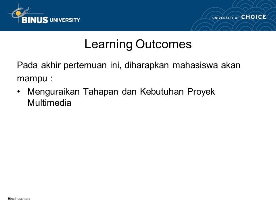 Bina Nusantara Learning Outcomes Pada akhir pertemuan ini, diharapkan mahasiswa akan mampu : Menguraikan Tahapan dan Kebutuhan Proyek Multimedia