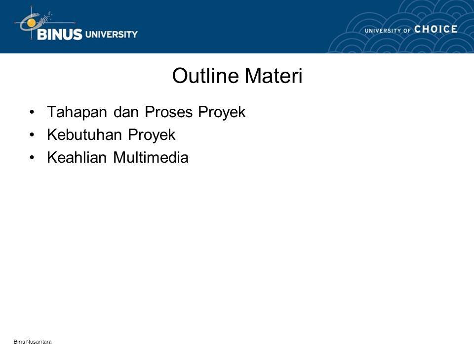 Bina Nusantara Outline Materi Tahapan dan Proses Proyek Kebutuhan Proyek Keahlian Multimedia