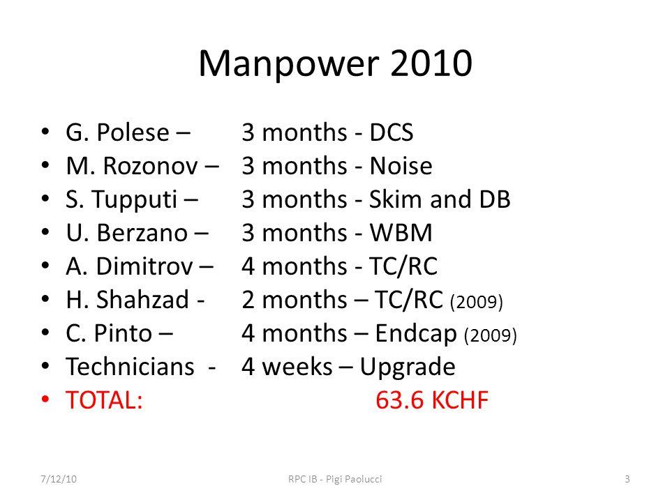Manpower 2010 G. Polese – 3 months - DCS M. Rozonov –3 months - Noise S.