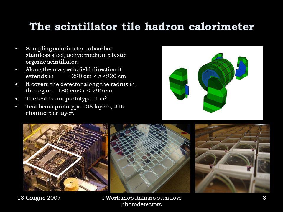 13 Giugno 2007I Workshop Italiano su nuovi photodetectors 3 The scintillator tile hadron calorimeter Sampling calorimeter : absorber stainless steel, active medium plastic organic scintillator.