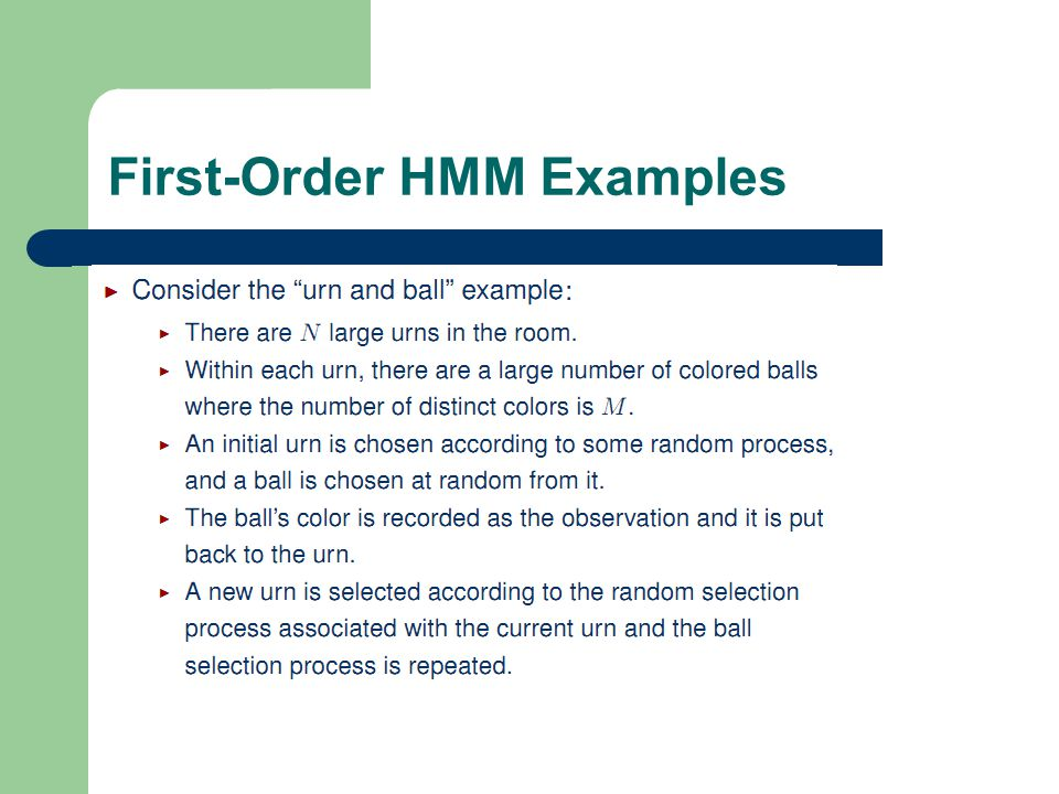 13 1 First-Order HMM Examples