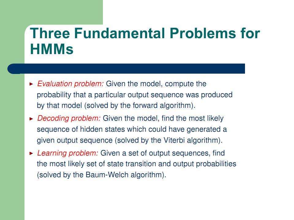 17 1 Three Fundamental Problems for HMMs