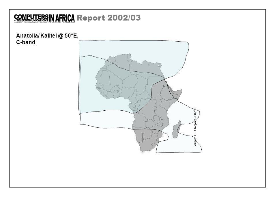 Report 2002/03 Anatolia/ Kalitel @ 50°E, C-band Source: CTiA Report 2002/03