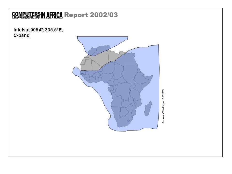 Report 2002/03 Intelsat 905 @ 335.5°E, C-band Source: CTiA Report 2002/03