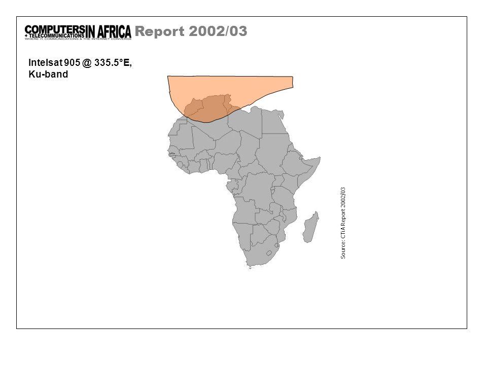 Report 2002/03 Intelsat 905 @ 335.5°E, Ku-band Source: CTiA Report 2002/03