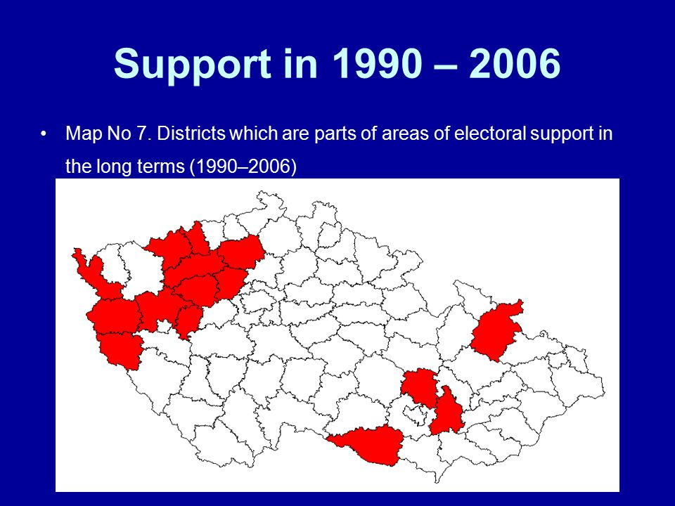 Support in 1990 – 2006 Map No 7.