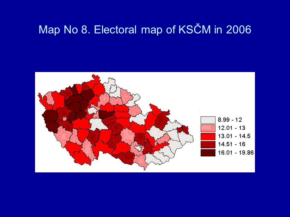 Map No 8. Electoral map of KSČM in 2006