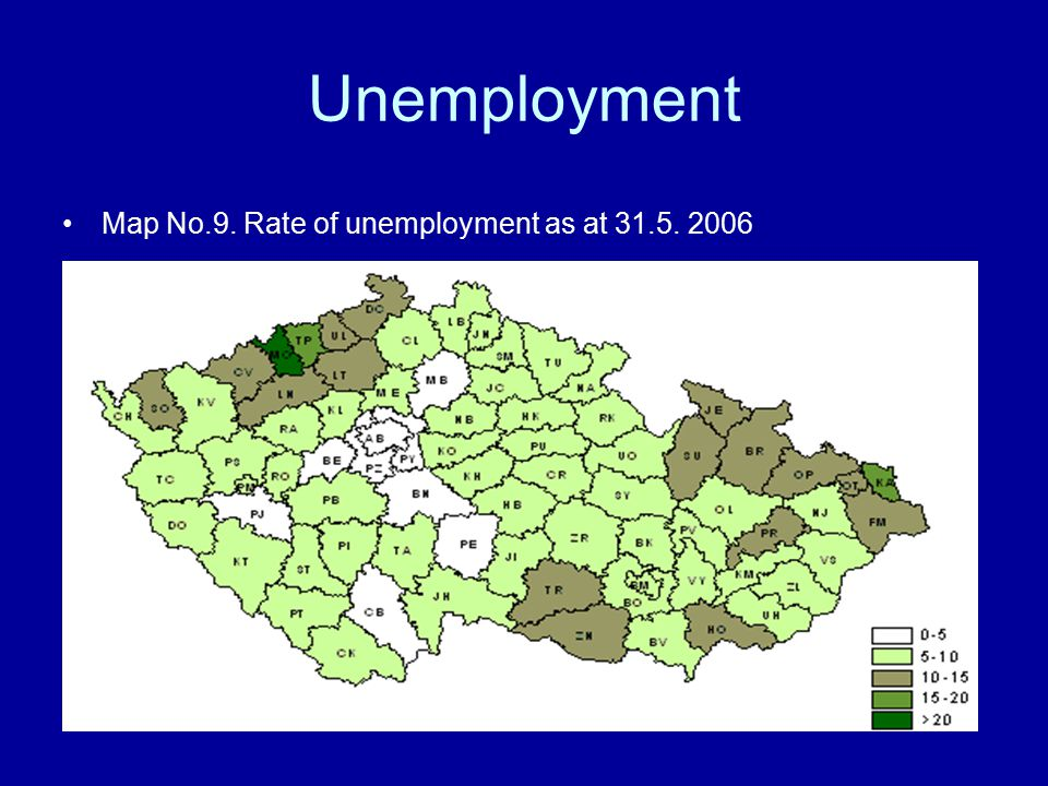 Unemployment Map No.9. Rate of unemployment as at 31.5. 2006