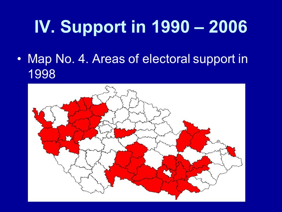 IV. Support in 1990 – 2006 Map No. 4. Areas of electoral support in 1998