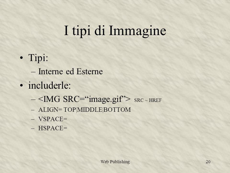 Web Publishing20 I tipi di Immagine Tipi: –Interne ed Esterne includerle: – SRC ~ HREF –ALIGN= TOP|MIDDLE|BOTTOM –VSPACE= –HSPACE=
