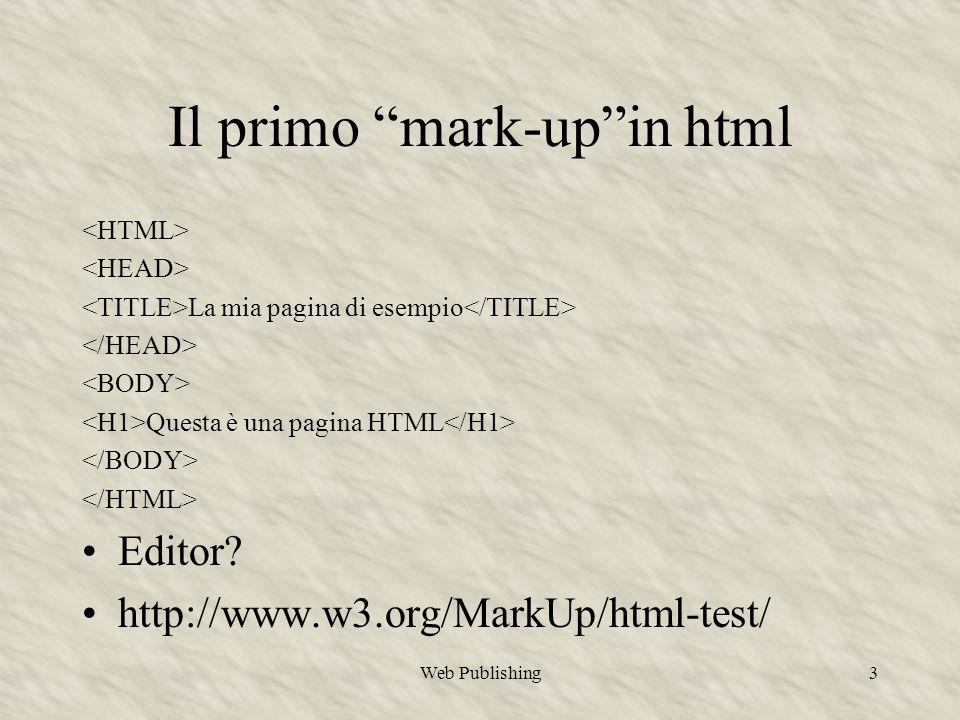 Web Publishing3 La mia pagina di esempio Questa è una pagina HTML Editor.