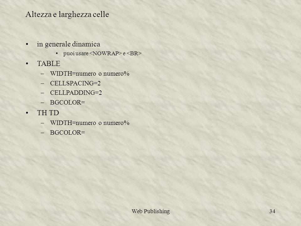 Web Publishing34 in generale dinamica puoi usare e TABLE –WIDTH=numero o numero% –CELLSPACING=2 –CELLPADDING=2 –BGCOLOR= TH TD –WIDTH=numero o numero% –BGCOLOR= Altezza e larghezza celle