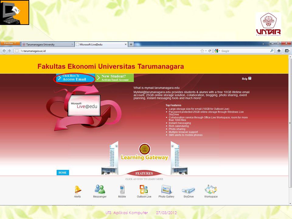 27/03/2012 UTS Aplikasi Komputer xxx@yyy.zzz xxxxxxx